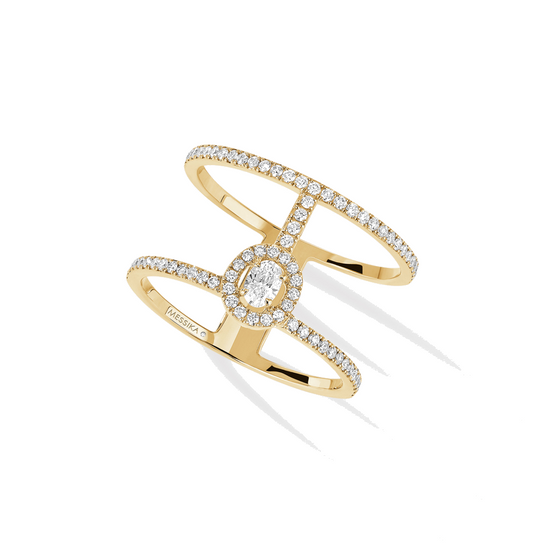 Ring Diamond Yellow Gold Glam'azone 2 Rows Pavé