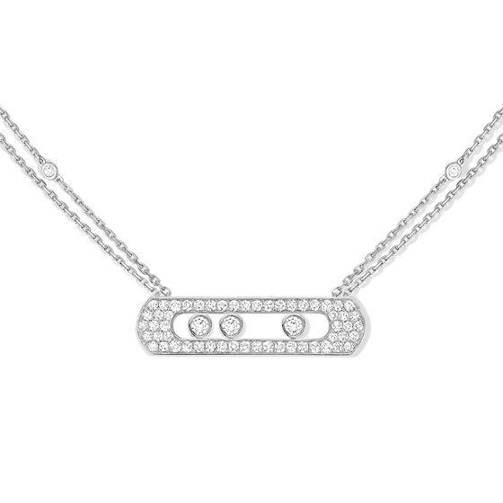 Necklace Diamond White Gold Move Joaillerie Pavé