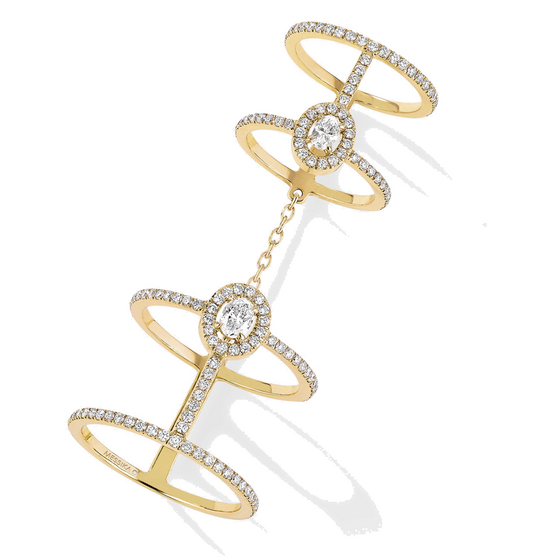Ring Diamond Yellow Gold Glam'azone Double Pavé