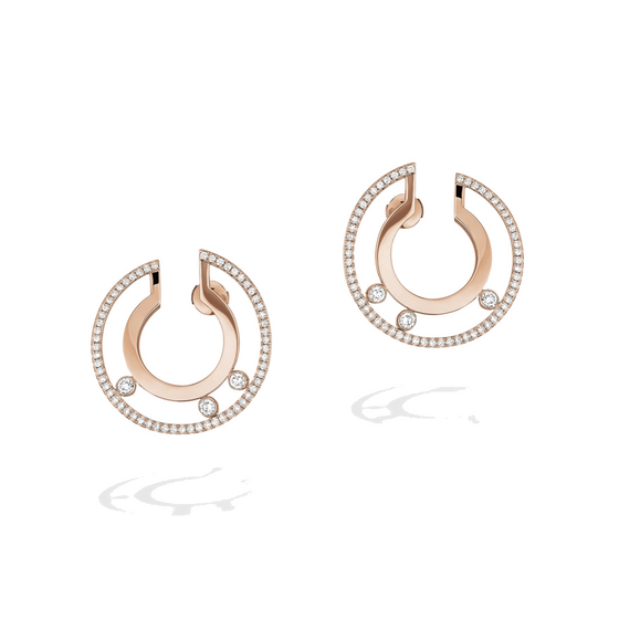 Earrings Diamond Pink Gold Move Romane Hoop