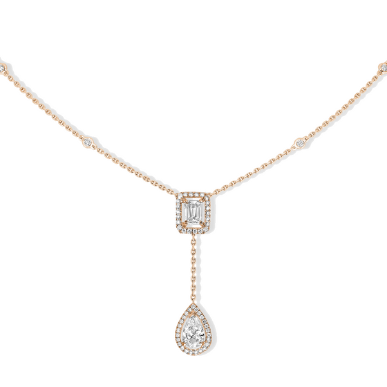 Necklace Diamond Pink Gold My Twin Tie 0,40ct X2