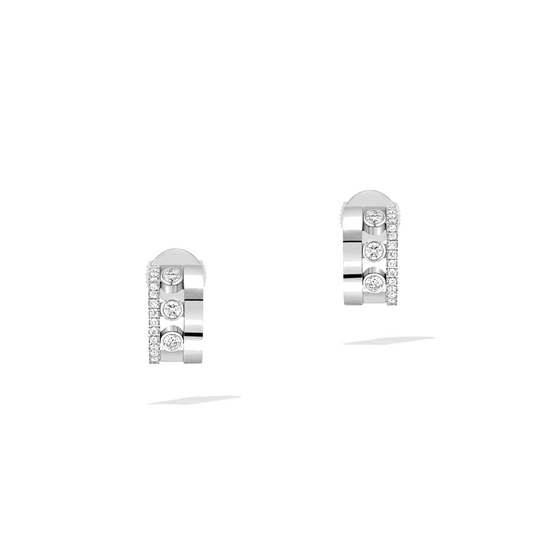 Earrings Diamond White Gold Move Romane Mini Hoops