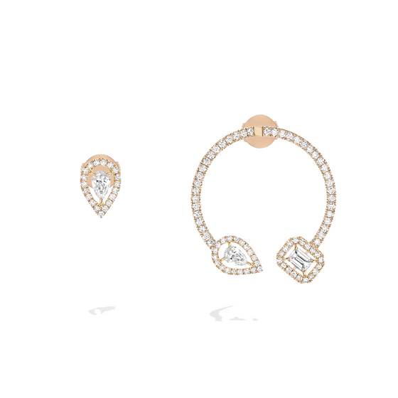 Earrings Diamond Pink Gold My Twin Mono Hoop 0,15ct X3