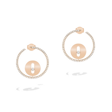 Earrings Diamond Pink Gold Créoles Lucky Move PM