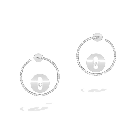 Earrings Diamond White Gold Créoles Lucky Move PM