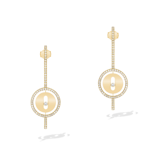 Earrings Diamond Yellow Gold Lucky Move Arrow