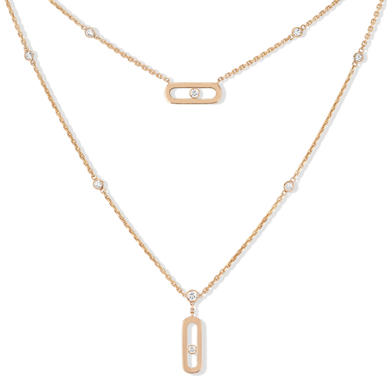 Necklace Diamond Pink Gold Move Uno 2 Rows