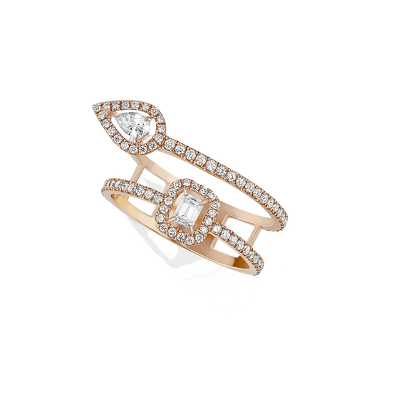 Ring Diamond Pink Gold My Twin 2 Rows 2x0,10ct