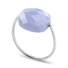 Blue Lace Agate Cushion White Gold Ring