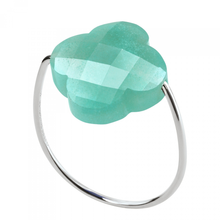 Amazonite Clover White Gold Ring