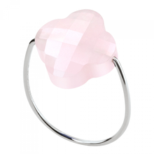 Ring White Gold Clover And Pink Quartz