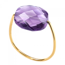 Amethyst Cushion Yellow Gold Ring