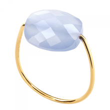Blue Lace Agate Cushion Yellow Gold Ring