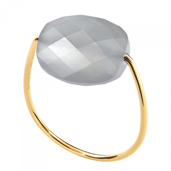 Moonstone Cushion Yellow Gold Ring