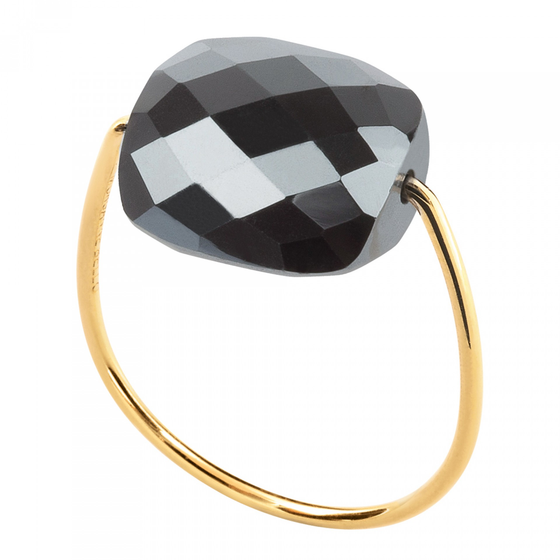 Hematite Cushion Yellow Gold Ring