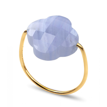 Blue Lace Agate Clover Yellow Gold Ring
