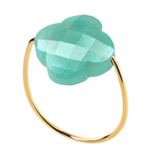 Amazonite Clover Yellow Gold Ring