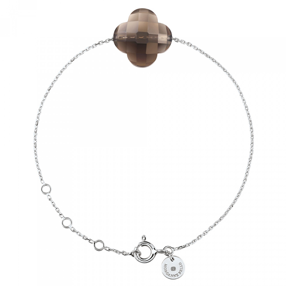 Smoky Quartz Clover White Gold Bracelet