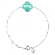 Amazonite Clover White Gold Bracelet