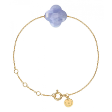 Blue Lace Agate Clover Yellow Gold Bracelet
