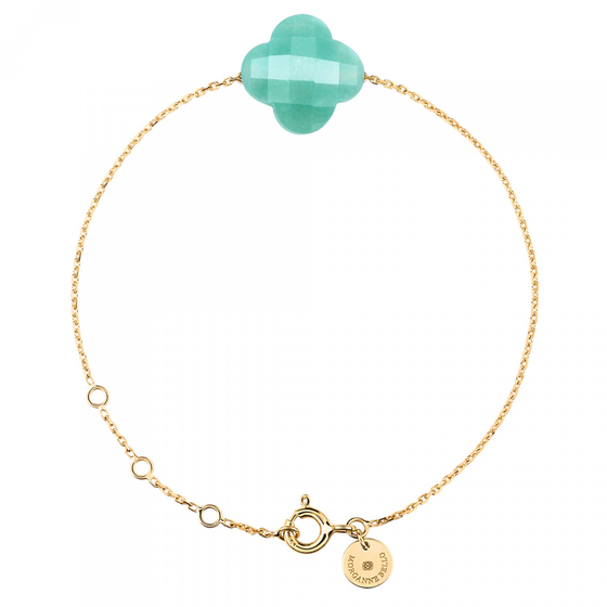 Amazonite Clover Yellow Gold Bracelet