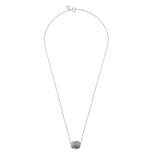 Necklace White Gold Cushion Labradorite