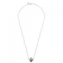 Necklace White Gold Clover Labradorite