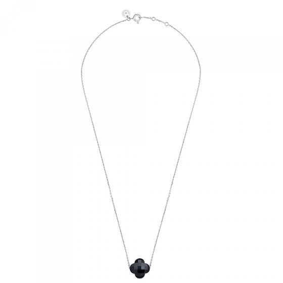 Onyx Clover White Gold Necklace