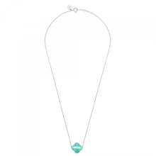 Amazonite Clover White Gold Necklace