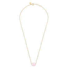 Powdered Pink Quartz Cushion Yellow Gold Necklace