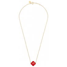 Necklace Yellow Gold Clover Cornaline
