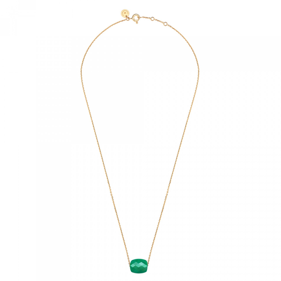 Green  Agate Cushion Yellow Gold Necklace