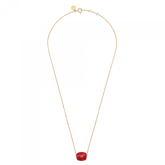 Red Quartz Cushion Yellow Gold Necklace