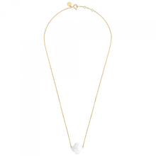 White Agate Clover Yellow Gold Necklace