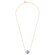 Blue Lace Agate Clover Yellow Gold Necklace