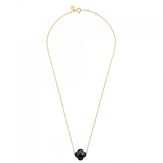 Onyx Clover Yellow Gold Necklace
