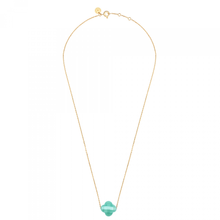 Amazonite Clover Yellow Gold Necklace