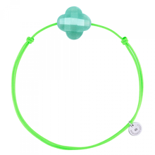 Amazonite Clover On A Fluo Green  Cordon Bracelet