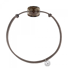 Smoky  Quartz Cushion Taupe Cord  Bracelet