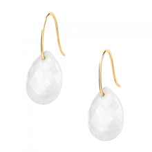 White Agate Yellow Gold Drop Earrings