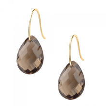 Smoky  Quartz  Yellow Gold Drop Earrings