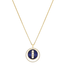 Necklace Diamond Yellow Gold Lapis Lazuli Lucky Move MM