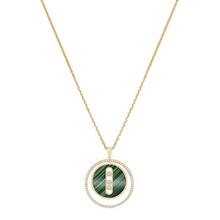 Necklace Diamond Yellow Gold Malachite Lucky Move MM