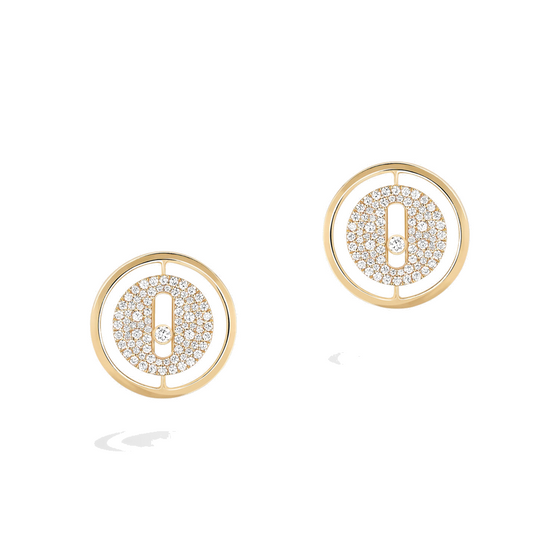 Earrings Diamond Yellow Gold Lucky Move Pavé-set Stud Earrings