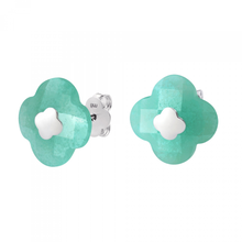 Studs White Gold Amazonite