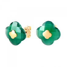 Studs Yellow Gold Green Agate