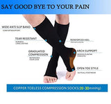 Copper Compression Socks, Open-Toe 20-30mmHg