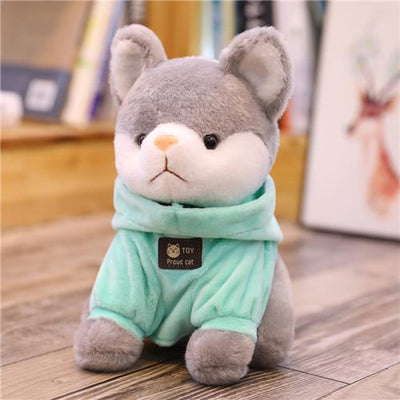 univers-peluche 20cm / Bleu clair Peluche chat à sweat chat fier