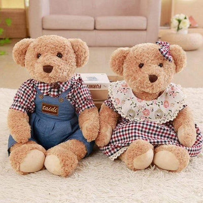 univers-peluche 45cm / Brun Ours en peluche couple mini carreaux