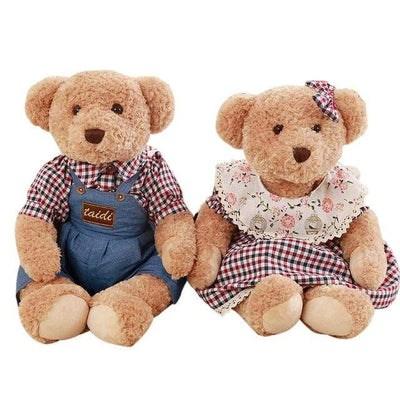 univers-peluche Ours en peluche couple mini carreaux